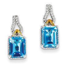 925 Sterling Silver Rhodium & Flash Gold Plated Accent Blue Topaz Earrings - €75,26 EUR