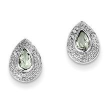 925 Silver Rhodium Plated Pear Green Quartz & Diamond Open Back Post Ear... - €32,98 EUR