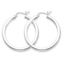 925 Sterling Silver Rhodium Plated 3mm x 35mm Round Polished Hoop Earrings - $28.65
