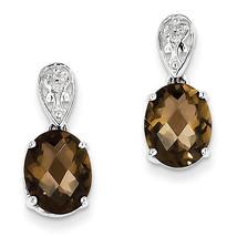 925 Sterling Silver Rhodium Plated Oval Smokey Quartz and Diamond Earrings - €65,99 EUR