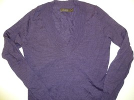 The Limited Purple Merino Wool Blend Long Sleeve Sweater - Small S V-Nec... - $14.99