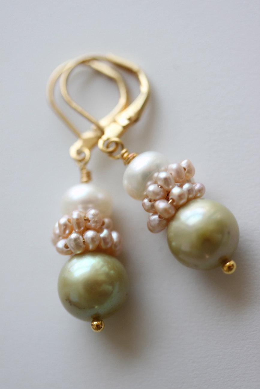 Pearl Earrings Bridal Earrings  Bridal Jewelry Freshwater Pearl Earrings