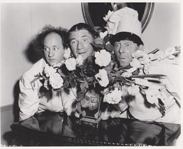 3 Stooges Flowers Moe Larry Curly Vintage 8X10 BW TV Memorabilia Photo - $4.99