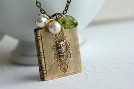 Book Locket Necklace Owl Locket Pendant - $38.00