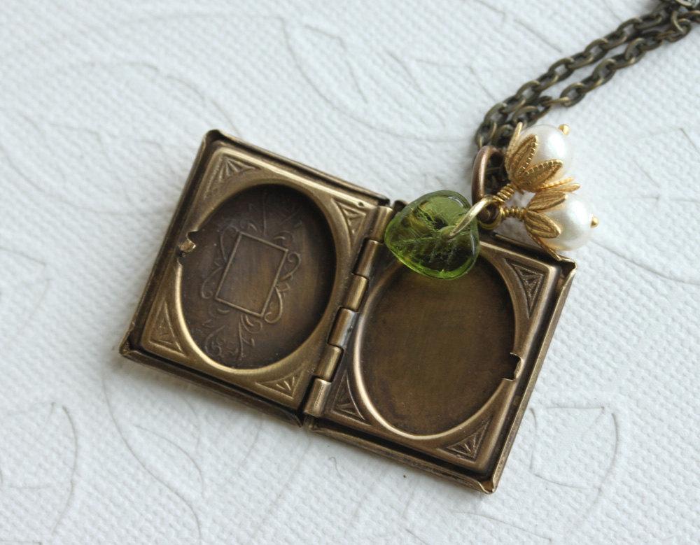 Book Locket Necklace Owl Locket Pendant