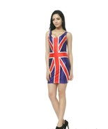 UK Flag Design One-Piece Mini Skirt Bodycon Stretchy Patriotic Dress - $18.99