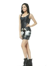 White Swan Romantic One-Piece Mini Skirt Bodycon Slim Stretch Black Dress - $18.99