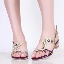 PS058 elegant genuine leather rhinestones ankle sandals, size 34-39, violet - $68.80