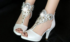 PS0589 Luxury shimmering rhinestones ankle sandals, size 34-39, white - $88.80