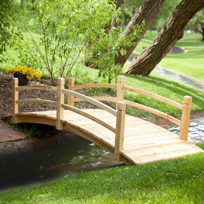 Wooden Garden Bridge 8 Ft Natural Wood Backyard Landscape Outdoor Stream Walkway Bridges