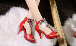 PS0589 Luxury shimmering rhinestones ankle sandals, size 34-39, red - $88.80