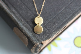 Gold Disc Necklace Gold Circle Jewelry  Double ... - $32.00