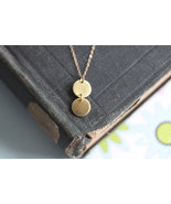 Gold Disc Necklace Gold Circle Jewelry  Double Disc Droplet Necklace  - $32.00