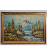 Striking Vintage Original W. AMION Oil on Canvas Mountain Stream Cabin P... - $272.25