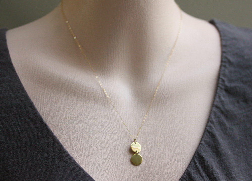 Gold Disc Necklace Gold Circle Jewelry  Double Disc Droplet Necklace