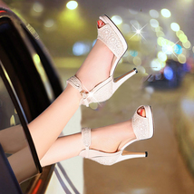PS060 Luxury floral ankle sandals, genuine leather, size 34-39, beige - $88.80