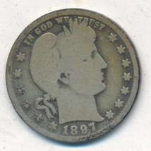 1897-O BARBER SILVER QUARTER-SEMI KEY-NICE CIRCULATED QUARTER-SHIPS FREE... - $29.95