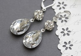Vintage Crystal Rhinestone Earrings,  Teardrop Earrings, Bridal Jewelry - $36.00