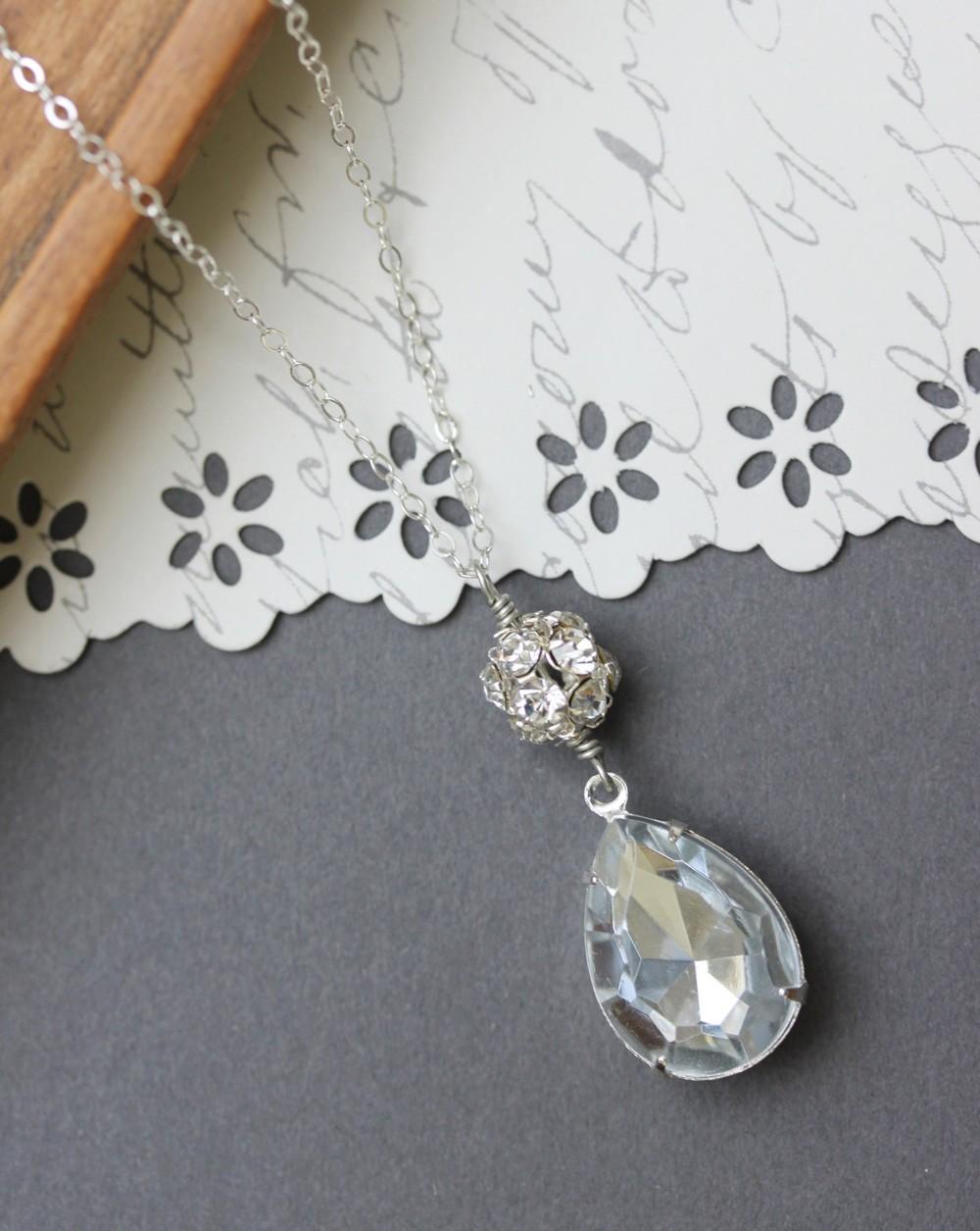 Vintage Crystal Rhinestone Earrings,  Teardrop Earrings, Bridal Jewelry