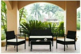 4 Piece Wicker Seats Group Cushions 2 Chairs 1 Loveseat 1 Table Ottoman ... - $1,515.17