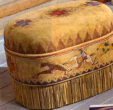 Handmade Deer Suede CAYUSE OTTOMAN 24″ L x 18″ ... - $899.99