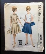 A Line Pleated Drop Waist Dress Sewing Pattern Misses Sz 12 Bust 32 McCa... - $12.84