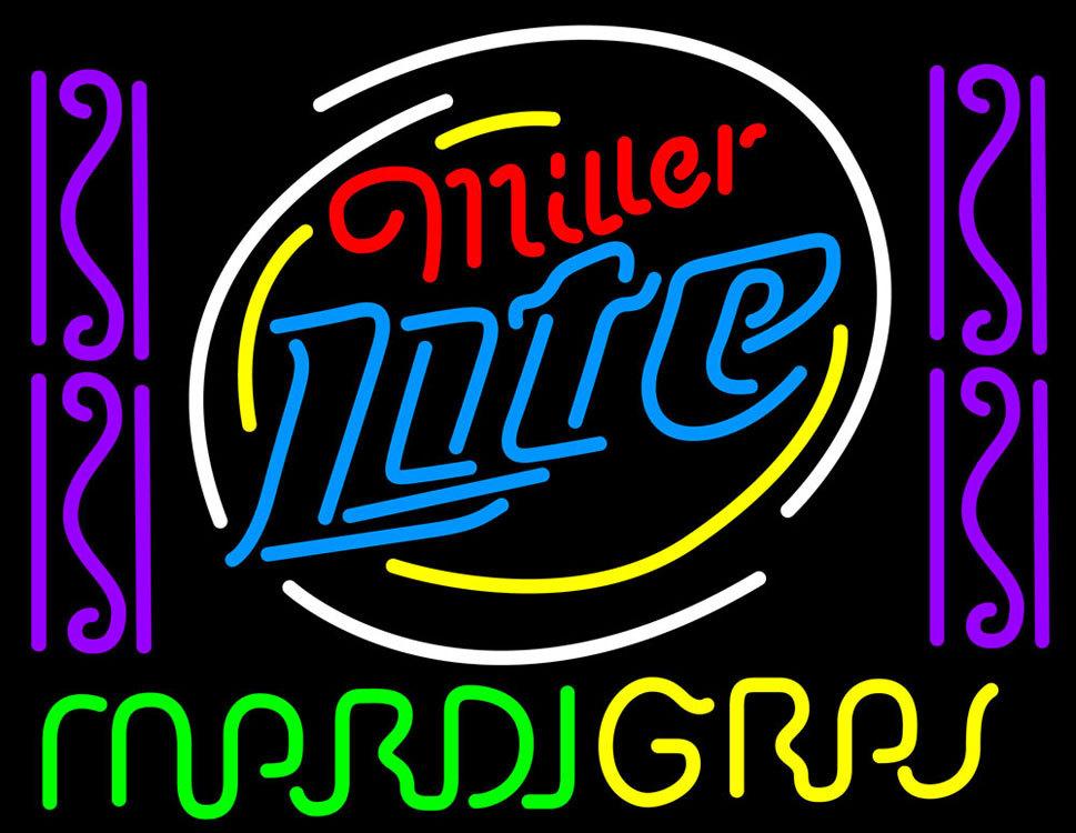Miller Lite Mardi Gras Neon Sign Neon