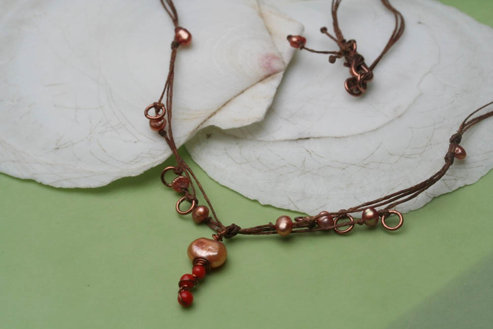 Waxed Linen Necklace ,Pearl Coral Necklace, Delicate Necklace, Weaved Necklace,