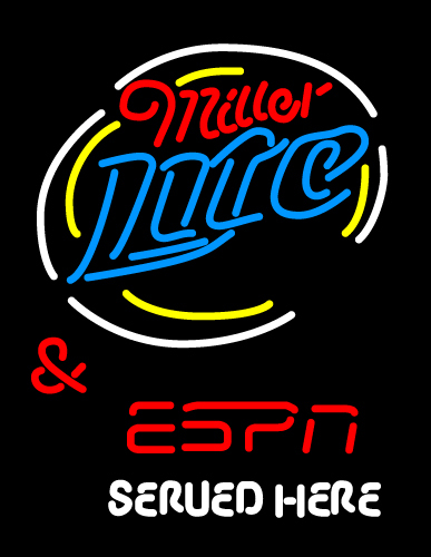 Miller Lite And Espn Served Here Neon Sign