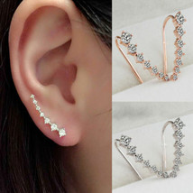 Women Fashion Four-Prong Setting 7 CZ Gold Plated Ear Hook Stud Earrings - $7.49