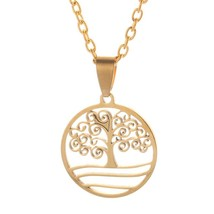 2018 Fashion Tree of Life Necklace Women Gold Stainless Steel Necklace P... - $9.40