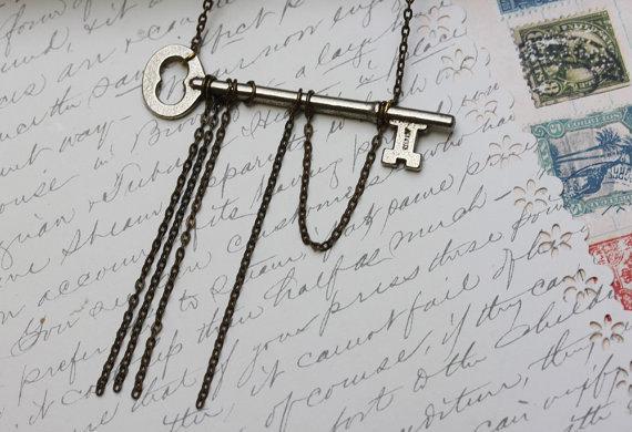 FREEDOM KEY Necklace Skeleton Key Necklace  Antique Key Necklace Vintage Jewelry