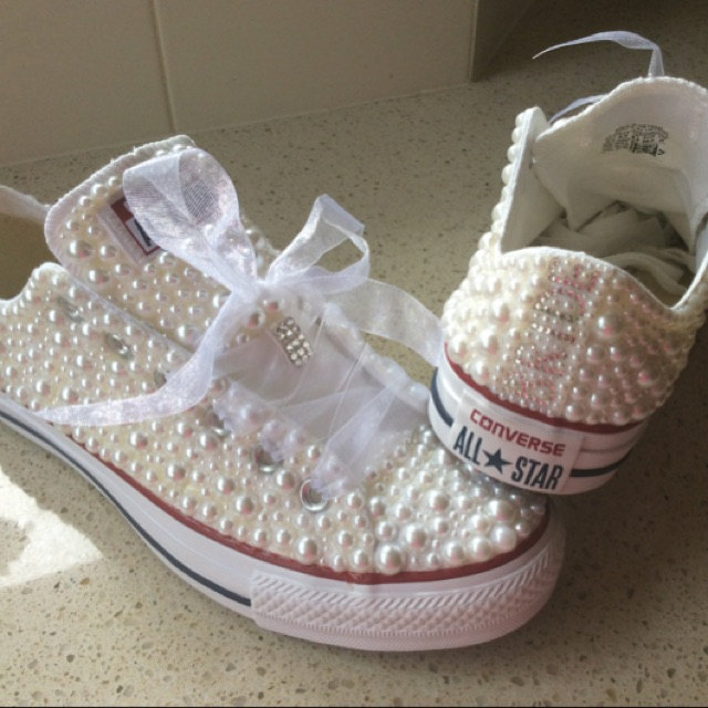 Wedding Shoes Low-top Sneaker Shoes Bridal Prom Shoes White Ribbon Ivory Pearls