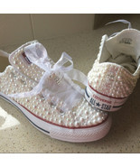 Wedding Shoes Low-top Sneaker Shoes Bridal Prom Shoes White Ribbon Ivory... - €162,18 EUR