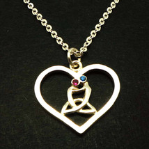 Handmade 925 Silver Celtic Mother Child Heart Necklace Pendant Mother Da... - $50.00