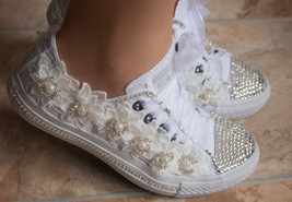 Girls Prom Shoes Lace Swarovski Flat Shoes Sneaker Conver All White Shoes Bride - $125.00