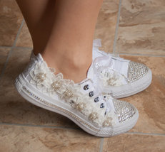 Girls Prom Shoes Lace Swarovski Flat Shoes Sneaker Conver All White Shoes Bride image 2