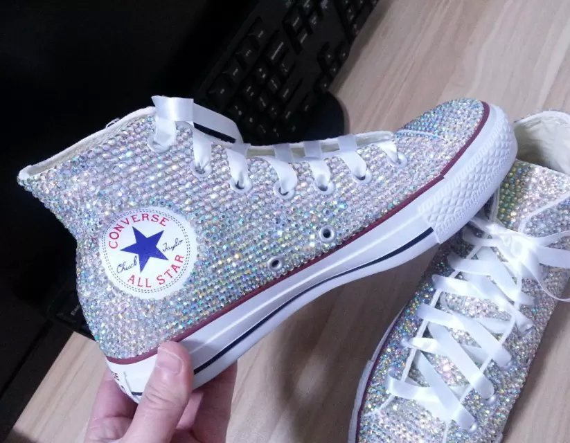 bridal converse high top wedding rhinestone converse shoe prom shoes lace ribbon image 2