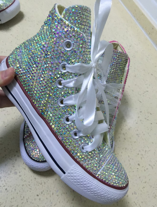 bridal converse high top wedding rhinestone converse shoe prom shoes lace ribbon