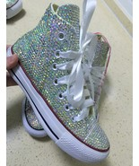 bridal converse high top wedding rhinestone converse shoe prom shoes lac... - $175.00