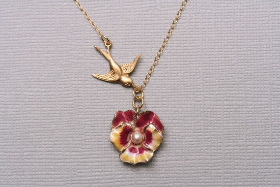 Pansy Flower Necklace - Dainty Small Necklace , Enamel Flower Necklace , Vintage