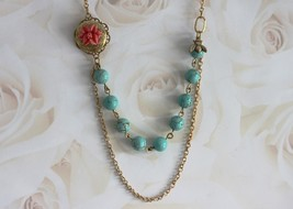 Bead Necklace, Bee Flower Necklace, Flower Locket Necklace,  Turquoise Necklace  - $44.00