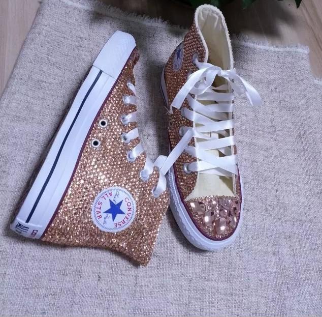 Champagne Bridal Shoes Custom Wedding Shoes Light Golden Rhinestone Glitter Shoe
