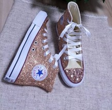 Champagne Bridal Shoes Custom Wedding Shoes Light Golden Rhinestone Glitter Shoe - $175.00