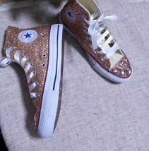 Champagne Bridal Shoes Custom Wedding Shoes Light Golden Rhinestone Glitter Shoe image 2