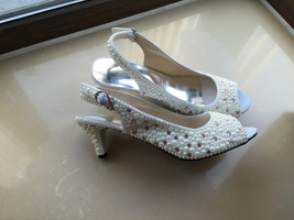 Kitten Heels Bridal Shoes Bride Slingback Sandel Shoes Woman Shoes sling... - $125.00