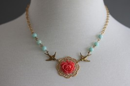 Coral Rose Necklace, Blue Turquoise Jewelry, Gold Bird Necklace, Flower ... - $38.00