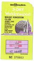 1986 MKC Magic Kingdom Club Walt Disney World 3 day worldpassport Used T... - $42.08