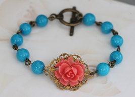 Turquoise Bracelet, Stone Bracelet, Coral and Turquoise Jewelry - $38.00