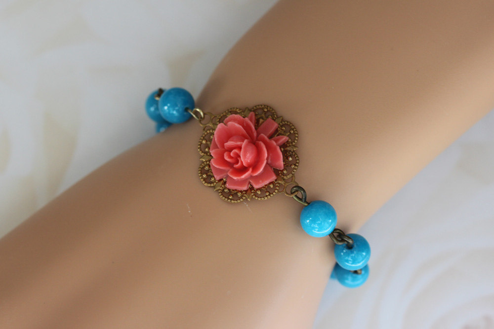 Turquoise Bracelet, Stone Bracelet, Coral and Turquoise Jewelry